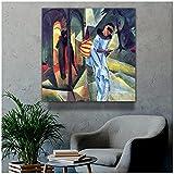 zkpzk August Macke Old Famous Master Artist Pierrot Cuadro De Pintura Impresión De Lienzo para Arte De Habitación Decoración Arte De Pared-60X60Cmx1 Sin Marco