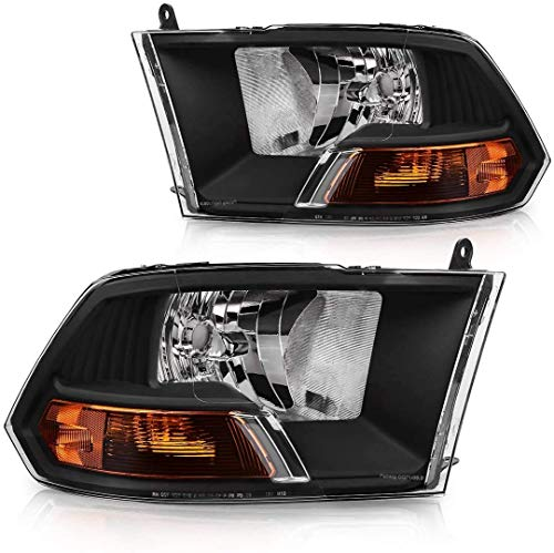 Headlights Fit for 2009-2012 Dodge Ram 1500 2500 3500 Pickup Headlamp Assembly , Driving And Passenger Side (Black)