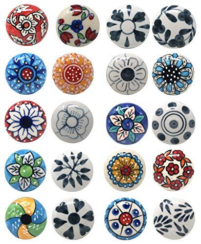 Juego de 20 pomos de cerámica para armario de cocina y armario de baño
