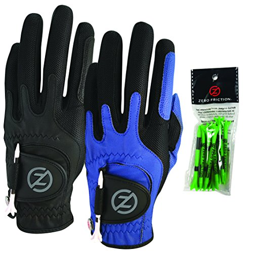 Zero Friction Male Men's Compression-Fit Synthetic Golf Glove (2 Pack), Universal Fit Black/Blue, One Size