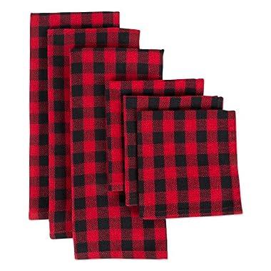 DII CAMZ10628 Cotton Plaid Kitchen Set, Dishcloth: 18  x 28 /Dishtowel: 13  x 13 , Red/Black Buffalo Check 6 Pack