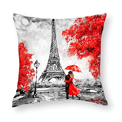 Decorative Throw Pillow Covers Black & Red Color Eiffel Tower Lover Decorative Throw Pillow Case Cushion Cover Cotton For Sofa Couch Chair Seat,Square 16 X 16 Inches
