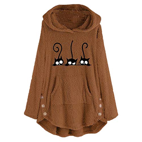 Mantel Damen Langarm Hoodie Cartoon-Katzendruc Mode Fleece Mit Taschen Irregular Hem Locker Knopf Stretch Warm Business Casual Sweatshirt Herbst Winter Neu Party Sport Top XL
