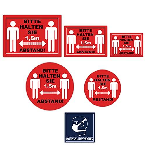 23 Stück Set Bitte halten Sie Abstand Aufkleber 1,5m Abstand halten Sicherheitsabstand Händewaschen Aufkleber Mundschutz Aufkleber