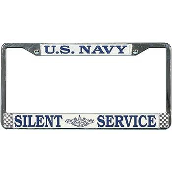 Submarine Service Decal US Navy Submarine Silent Service License Plate Frame Bundle with U.S