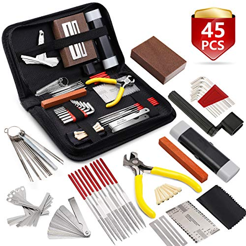 MIFOGE 45Pcs Guitar Repairing Maintenance Tool Kit with Carry Bag Large Care Set of Tools For Acoustic Guitar Electric guitar Ukulele Bass...