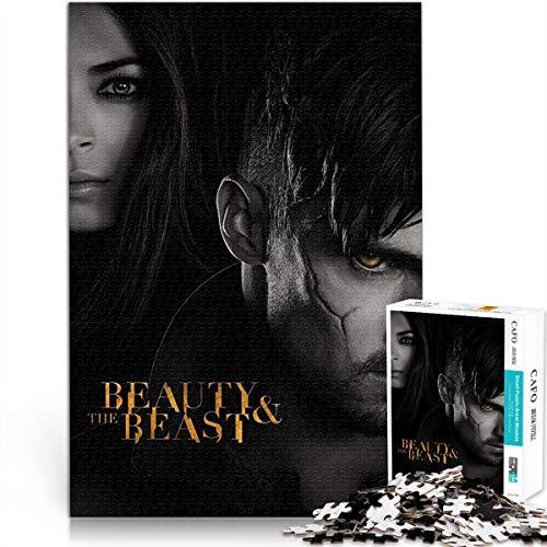 Puzzle 1000 Piezas de La Bella y la Bestia Cartel del Programa de televisión Película de fantasía de Amor Juego de Rompecabezas de Papel 26x38cm