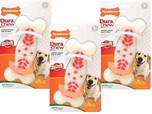 Nylabone 3 Pack de Power Chew Action Ridges juguetes para perros, sopa, sabor a tocino