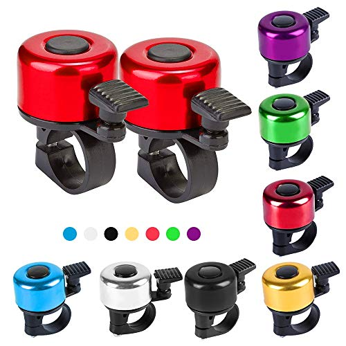 Bike Bell,2 Pack,Bike Bells for Adults and Kids,Crisp Loud Melodious Sound,Bicycle Bell with Loud and Crisp Clear Sound for Road and Mountain Bike Ring Bell (Red)