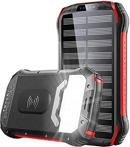 KEDRON PowerBank 26800mAh QI Wireless Solarladegerät Schnelles Aufladen Externer Akku Tragbare 4 Ausgang (3.1A USB/QI)Wasserdicht kompatibel mit iPhone, Samsung, Huawei, iPad und mehr