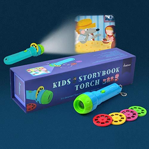 Huslieli - Linterna de proyección para niños con 4 cuentos de hadas, 32 diapositivas, lámpara de proyección para niños