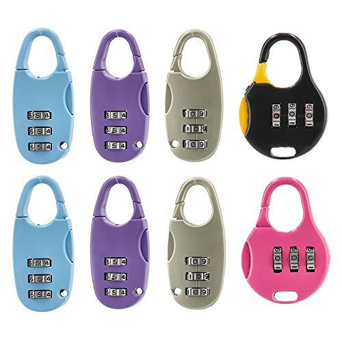 Tesosy Candado De Combinación, 8 Pack Candado de Seguridad de 3 DíGitos, Combinación Reajustable, candado para maleta, Archivadores,Cerraduras de Equipaje