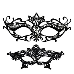 Black Lotus Masquerade Mask With Rhinestone Venetian Party