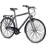 CHRISSON 28 Zoll Citybike Herren - City One anthrazit matt 53 cm - Herrenfahrrad mit 7 Gang Shimano...