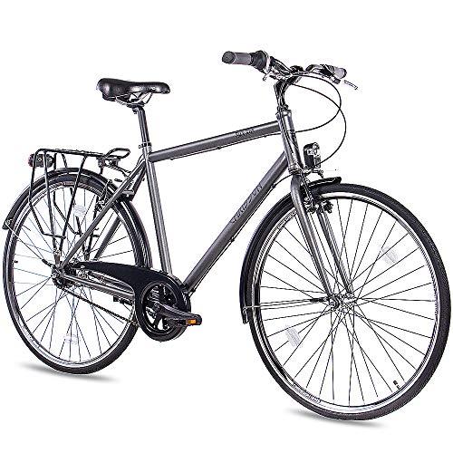 CHRISSON 28 Zoll Citybike Herren - City One anthrazit matt 53 cm - Herrenfahrrad mit 7 Gang Shimano Nexus Nabenschaltung - praktisches Cityfahrrad für Männer
