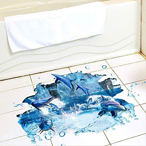 Creative 3D Floor Post Early Teach Children Kindergarten Sticker Cartoon Ocean Jumping Dolphin Environmental Wall Sticker 60 * 90Cm