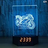 Luz nocturna 3D LED, lámpara de escritorio de acrílico, reloj electrónico, regalo en forma de moto