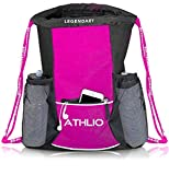 Legendary Drawstring Gym Bag - Waterproof | For Sports & Workout Gear | XL Capacity | Heavy-Duty Sackpack Backpack (Pink)