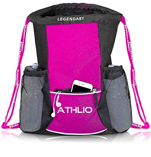 Legendary Drawstring Gym Bag - Waterproof   For Sports & Workout Gear   XL Capacity   Heavy-Duty Sackpack Backpack (Pink)