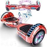 Magic Vida Skateboard Électrique 6.5 Pouces Bluetooth Puissance 700W avec Deux Barres LED Gyropode Auto-Équilibrage de Bonne qualité pour Enfants et Adult(Bleu Ciel)