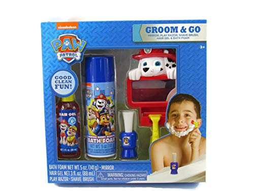 Nickelodeon Paw Patrol Groom & Go 5 pc Play Shaving Set w Bath Foam & Hair Gel