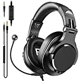 bopmen Computer Headset with Microphone - Wired Gaming Headphones with Boom Mic, On-Line Volume Control & Share-Port Over Ear Headsets for Office PC Laptop Phone Call PS4 Xbox One DJ