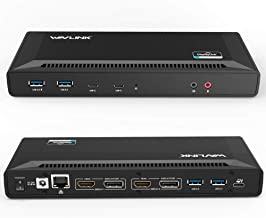 WAVLINK USB C Dual 4K Docking Station with 60W Power Delivery, Dual 4K@60Hz or Single 5K@60Hz Monitor Laptop DisplayLink Dock,2xDisplay Port 1.2, 2xHDMI 2.0, 6xUSB 3.0 Port, Gigabit Ethernet, Audio