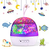 Baby Night Light, 4 in 1 Night Light Projector 360°Rotating LED Projector Starry Night Light Projector for Kids, Baby Projector Light 8 Colors with USB Cable
