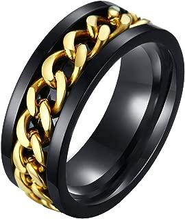 Mens Spinner Rings, Fidget Ring, Stainless Steel Band, Black, Silver, Multi, Size 6-15