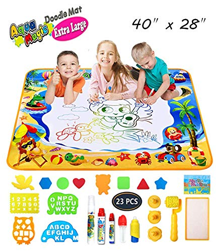 LOVEYIKOAI Aqua Magic Doodle Mat Large Water Drawing Doodling Toys with Water Painting Kits Coloring Mat Educational Toys for Kids Toddlers Boys Girls 2 3 4 5 6 7 8 9 10 11 Years Old (XL(40x28''))