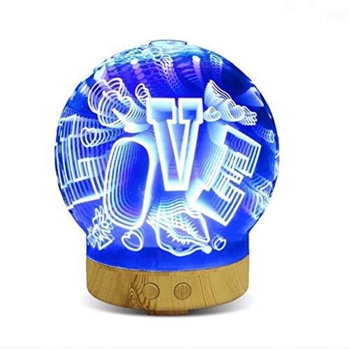 LICHUAN Humidificador Difusor del Aroma 3D, humidificador ultrasónico casero Palabra Creativa del Amor Luminous Colorful Night Light Fácil de Limpiar