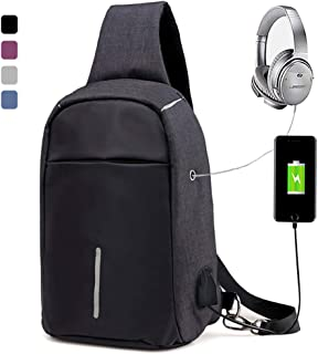 Peicees Sling Bag Anti Theft Bike Chest Daypack w/USB Charge Port&Earphone Holen and Women