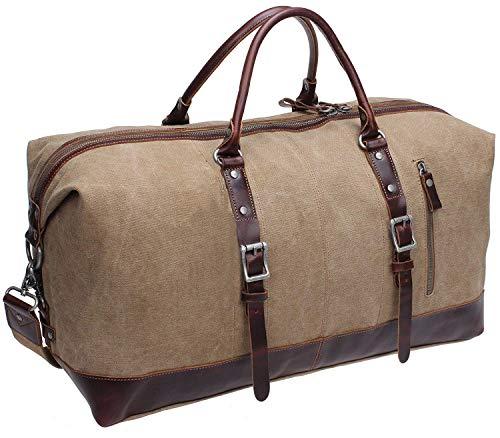 IBLUE Oversized Canvas Genuine Leather Trim Travel Tote Duffel Shoulder Weekend Bag Weekender Overnight Carryon Handbag Durable Bag