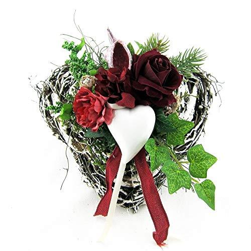 Small-Preis Grabgesteck - Grabschmuck - Grabaufleger Herz mit Rose klein 011