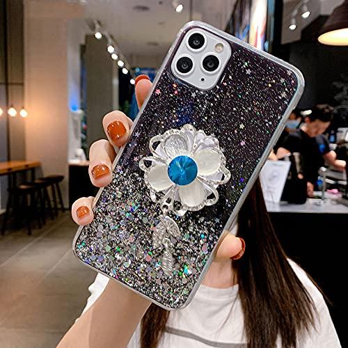 KESHOUJI Diamond Sun Flower Holder Stand Funda Suave para teléfono para iPhone 11 Pro MAX X XS XR 6 7 8 Plus para Samsung S8 S9 A50 S, 1, para iPhone XS