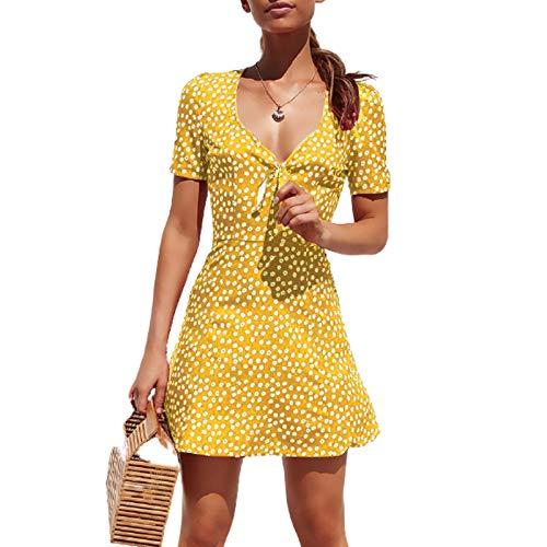 ADYD Vardaglig klänning för kvinnor boho polkaprickar mini solklänning V-ringad semester strandkjol klänningar, 1-gul, S