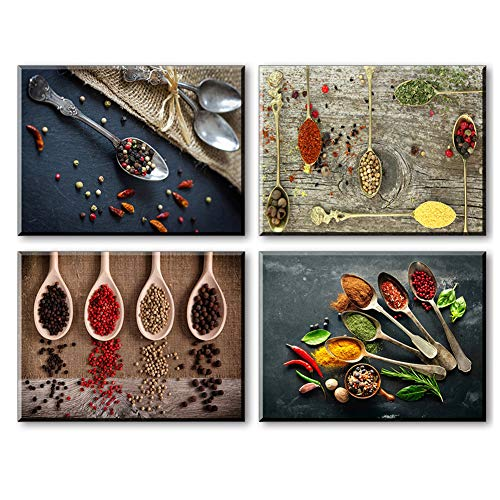 Piy - Decorazioni per parete di cucina, Legno, 4picsx12'x16' /3x30X40cm / Spice and Spoon, 3picsx12'x16' /3x30X40cm / Spice and Spoon