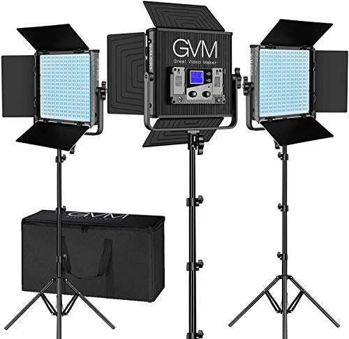 GVM RGB Video Lights with APP Control, 50W Full Color Studio Video Lighting Kit, Led Video Lights for YouTube Photography Lighting, 3 Packs Led Light Panel, Aluminum Alloy Shell, 3200K-5600K