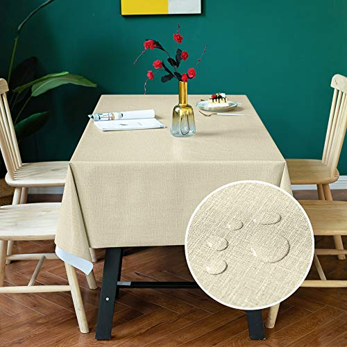 Carvapet PVC Manteles Impermeable Manteles Mesa Antimanchas Mantel Rectangular para Comedor Cocina (Beige, 137x185cm)