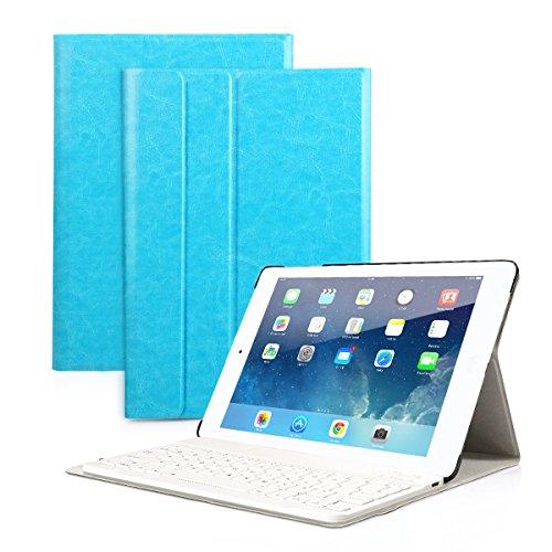 Besmall Tastiera di Lingua Italiana Bluetooth Wireless Rimovibile per Apple iPad iPad 9.7 2018/iPad 9.7 2017/iPad Air 2 Air 1/iPad Pro 9.7 + Custodia Cover Protettiva in Pelle Sintetica -Celeste