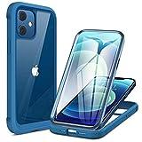 Miracase 360 Grad Hülle Kompatibel mit iPhone 12 Mini (5.4 Zoll), Ganzkörper Schutzhülle mit eingebauter Glas Bildschirmschutzfolie, Komplett Schutz, Stoßfeste Fullbody Handyhülle, Blau