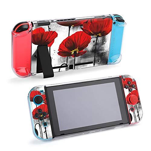 Funda Protectora de Flor de Amapola de Acuarela para Nintendo Switch, Estuche rígido, Controladores de Agarre de Mano
