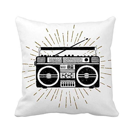 N\A Throw Pillow Cover Silhouette 90S Badge Boombox Player Radio Cassette Retro 80S Funda de Almohada Funda de Almohada Cuadrada Decorativa para el hogar Funda de cojín