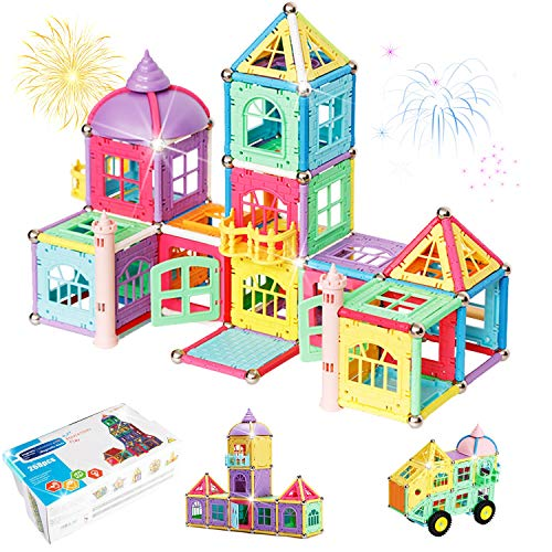 Magnetic Blocks Building Set for Kids, Magnetic Tiles Educational Construction Toys for Boys and Girls with Gift Box, 268 Pieces