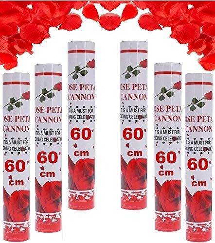 Partyjoker 10 cañones de confeti para bodas con pétalos de rosa, 60 cm, golpe extra fuerte, alcance de 6-8 metros