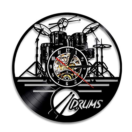 BFMBCHDJ Guitar Drums Set Silhouette LED Wall Clock Lighting Music Band Vinyl Record Clock Wall Watch Home Decor Gift for Band Member Fan With LED 12 inches