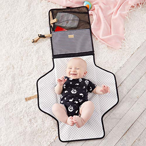 Skip Hop Portable Baby Changing Pad: Pronto Wipe Clean Changing Mat with Built-In Pillow and Wipes Dispenser, Black & White Stripe