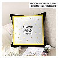 クッションカバー 45 * 45装飾クッションカバー黄色い枕ケース快適なホームデコクッションカバーのためのカーシートクッション枕 (Color : Style 18)