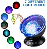 Elecstars Ocean Wave Projector Remote Control Ocean Wave Night Light with 12 LEDs & 7 Color Changing Modes Built-in Soft Music Player for Living Room and Bedroom