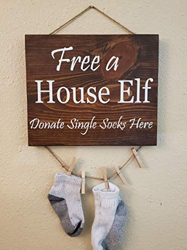 Free House Elf Sign Single Sock Laundry Room Wood Sign Hand Painted